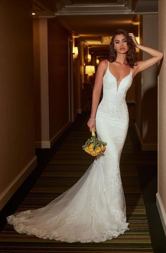 white v neck Spaghetti Straps sleeveless applique tulle prom wedding dress – Gem… – WEDDING
