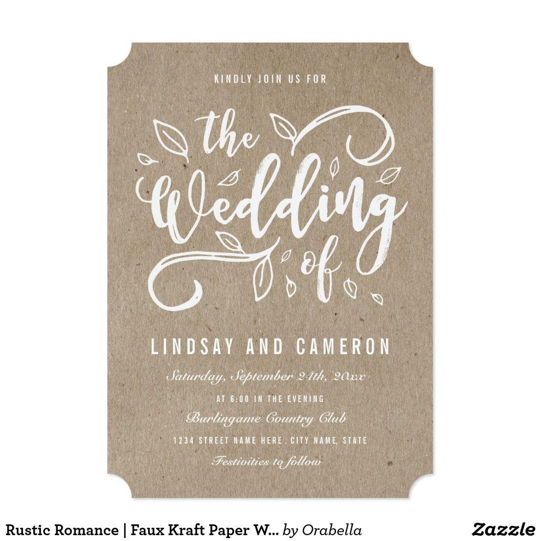 Faux Kraft Paper Wedding Invite