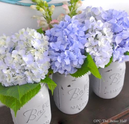 Painted Mason Jars with Flowers from OPC The Better Half | Stuff i ...