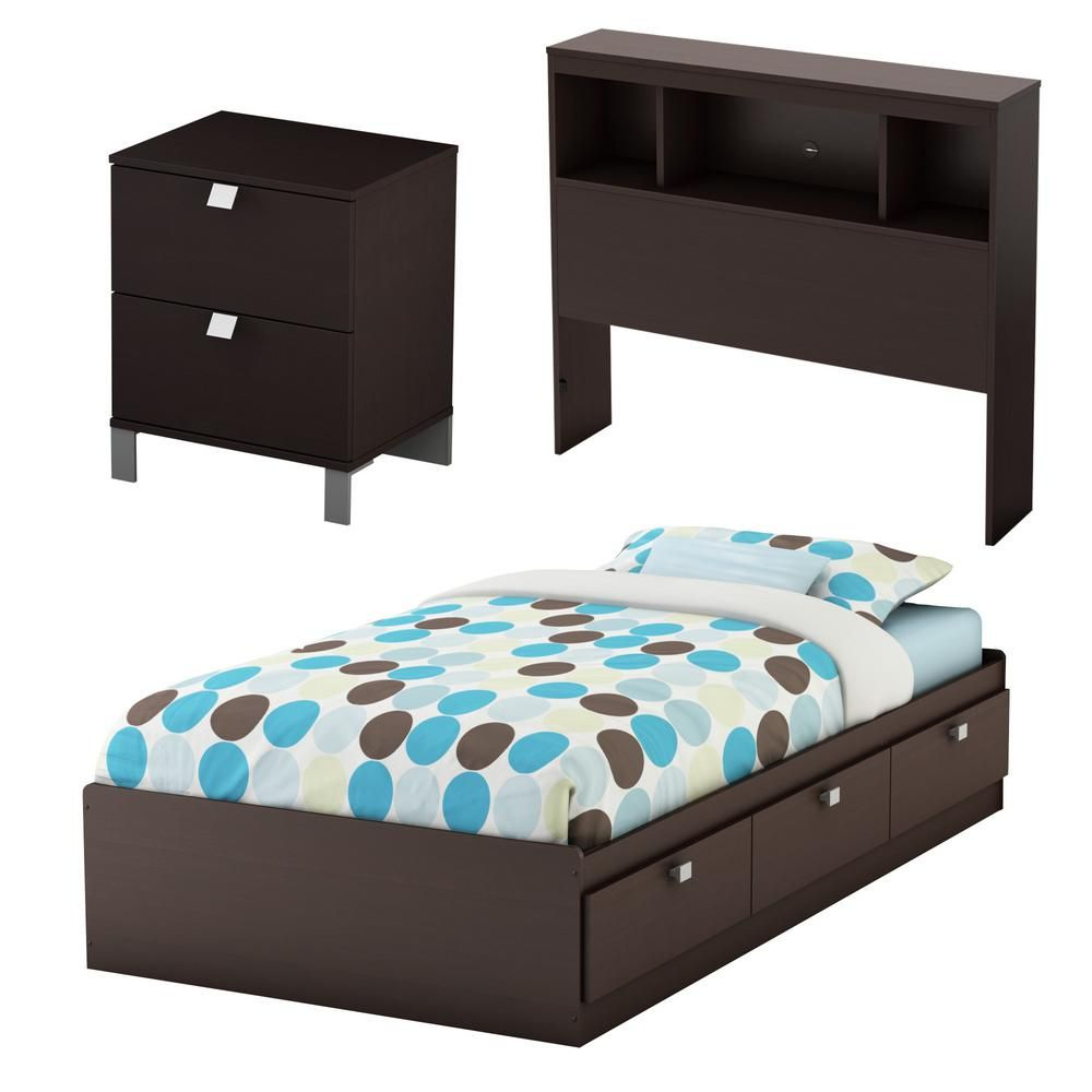 South Shore Spark 3 Piece Chocolate Twin Bedroom Set 3259a3 The Home Depot Twin Bedroom Sets Kids Bedroom Sets Bedroom Sets For Sale
