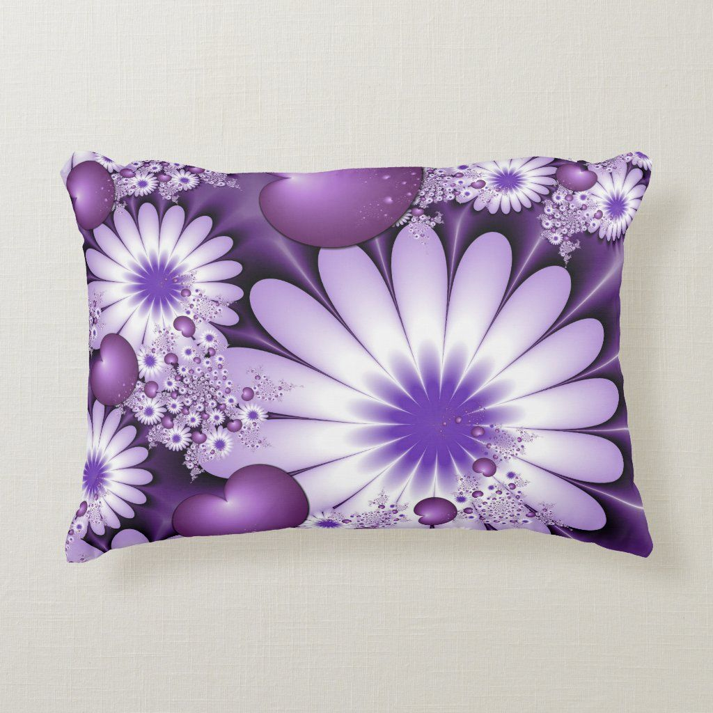 Falling in Love Abstract Flowers & Hearts Fractal Decorative Pillow