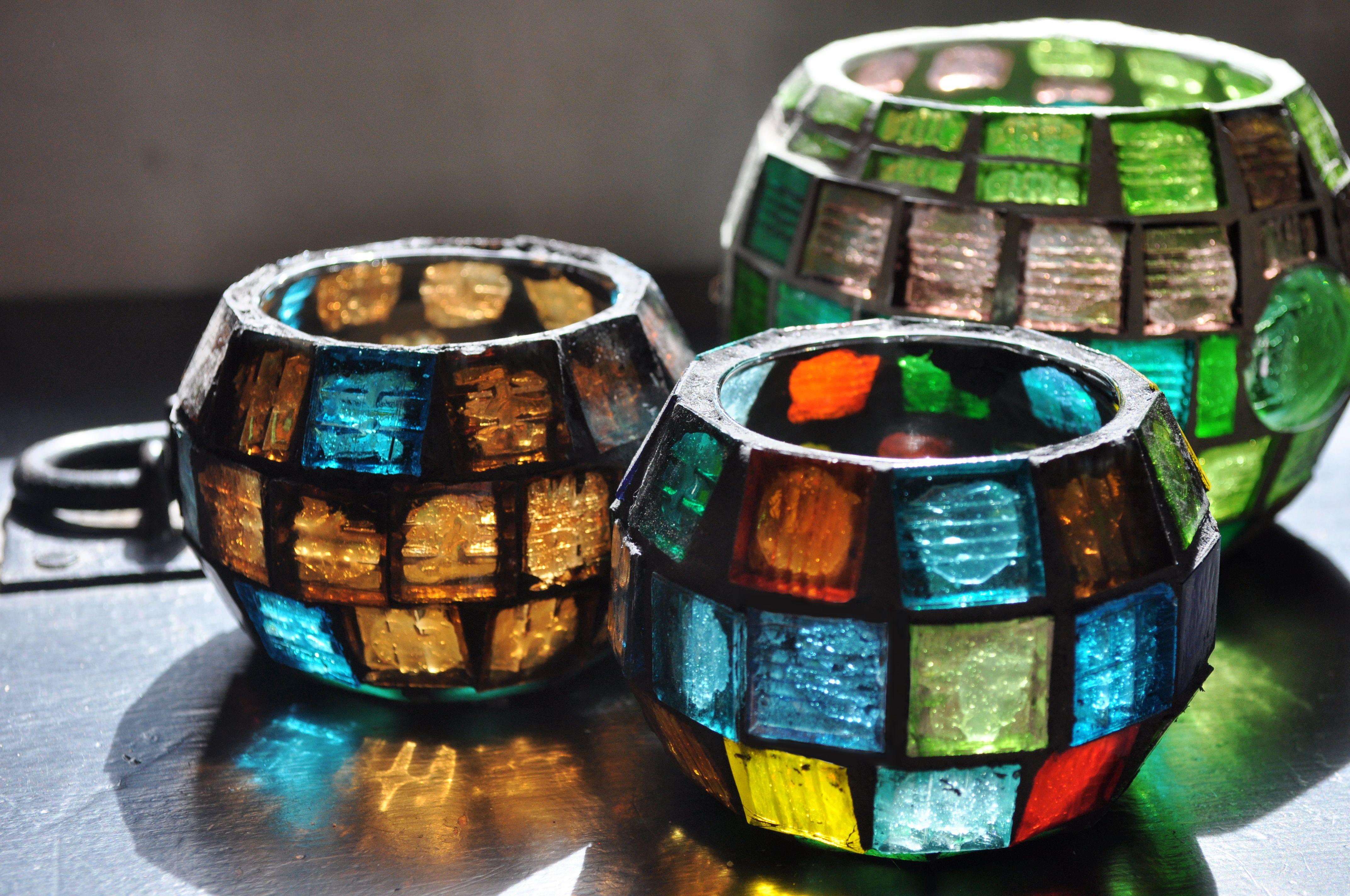 Mosaic Glass Lanterns Fanales De Vidrio Mosaiqueado #Mosaic #Mosaiquismo #Venecitas