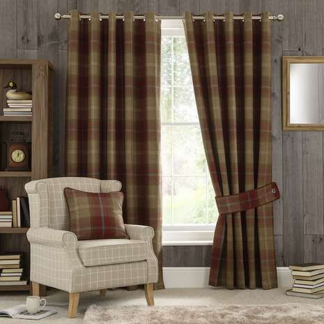 Highland check wine lined eyelet curtains living room pinterest curtains pleated curtains for Lined valances for living room