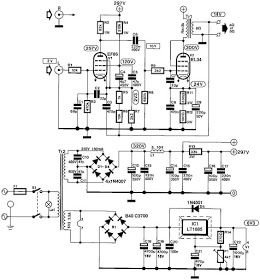 Wiring Schematic Diagram: tube EF86 + EL34 8Watt Single