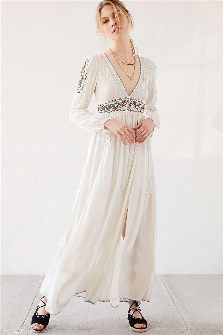 Floral white maxi dress bohemian long sleeve embroidered vneck