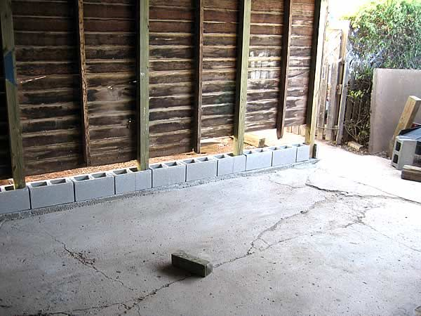 Adding Blocks To The BOTTOM Of Wood Walls? The Garage