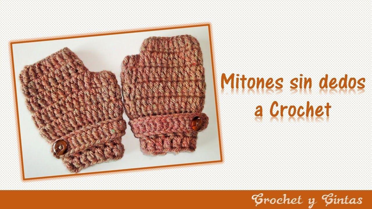 Mitones, guantes sin dedos tejidos a crochet