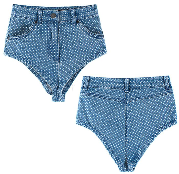 Sister by Sibling Polka Dots Denim High Cut Shorts - Jean Shorties ...