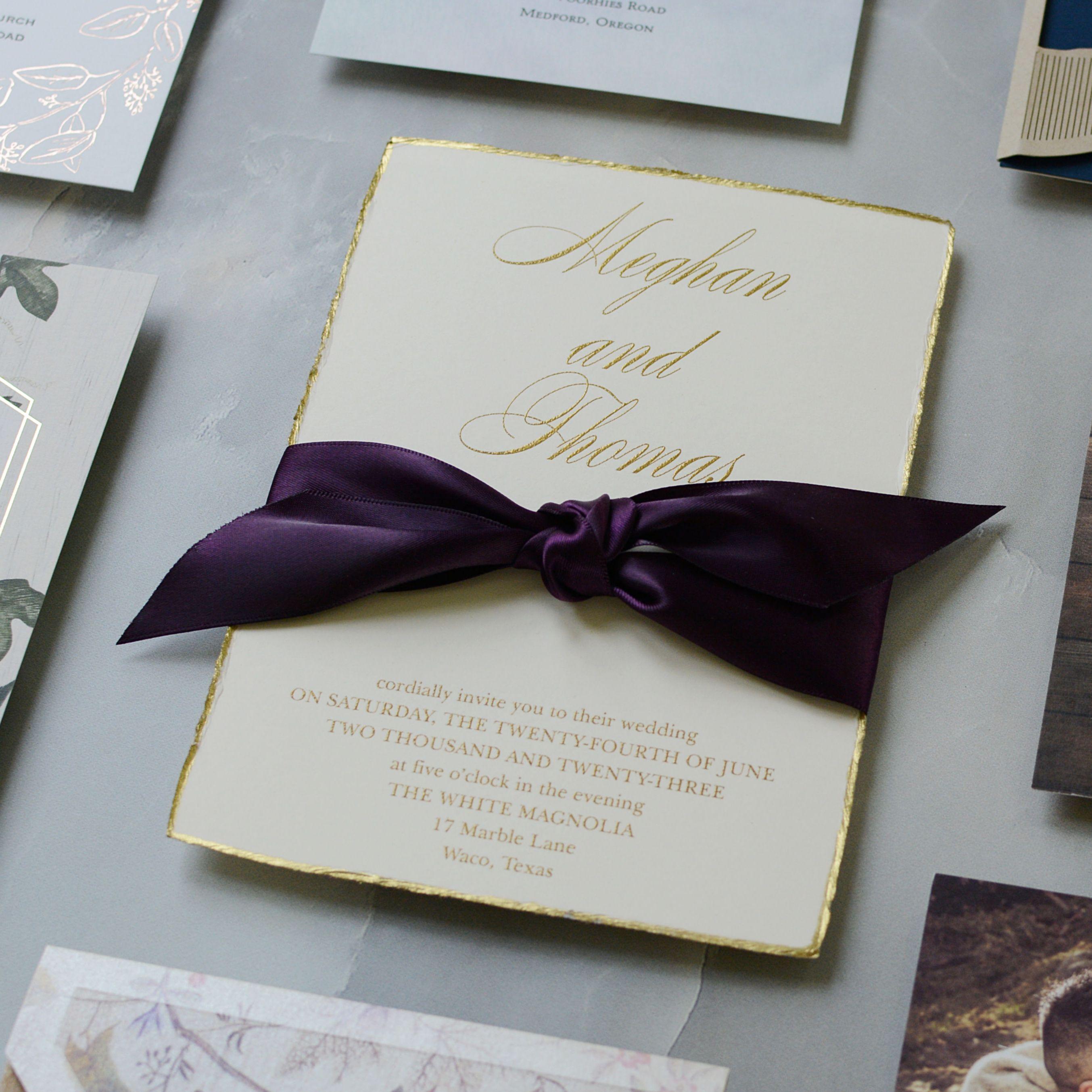 Jeweled Deckle Invitation Purple Wedding In 2019 Gold