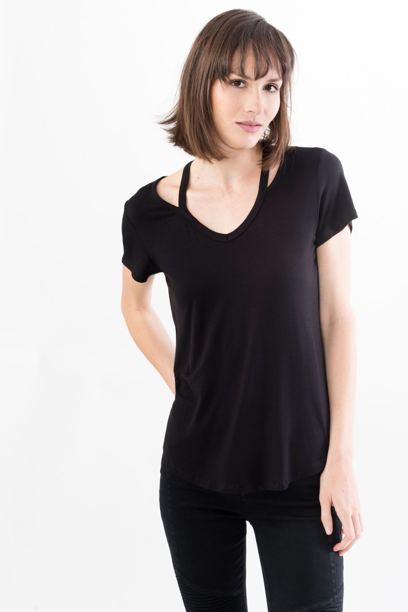 Short-sleeved Tee with Cutouts