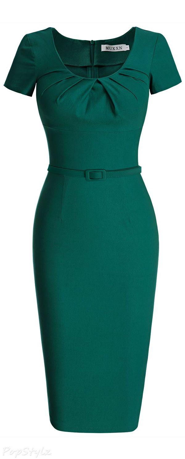 789b669a50b5fc MUXXN Vintage 50 s Short Sleeve Pleated Pencil Dress