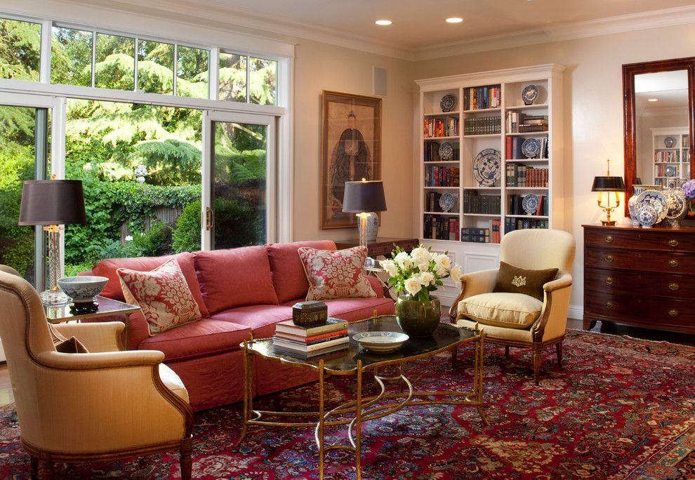 Colored crown molding living room traditional with - Traditional red living room ideas ...