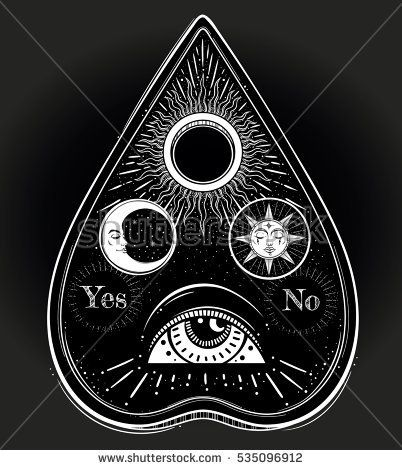 Bohemian Hand Drawn Ouija That Consists Of Pictures Of The Sun Moon Rays And Eye Of Providence Magi Esoteric Spiritua Ouija Tattoo Occult Tattoo Moon Tattoo