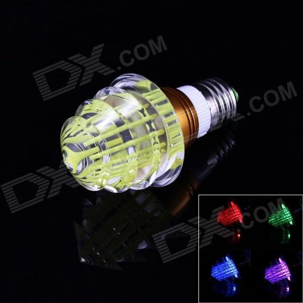 Christmas Tree Style E27 3W 6000mcd LED RGB Light w/ Remote Controller - Yellow (85~265V)