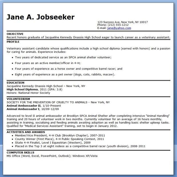 Veterinary Assistant Resume Examples Creative Resume Design - how to write high school resume