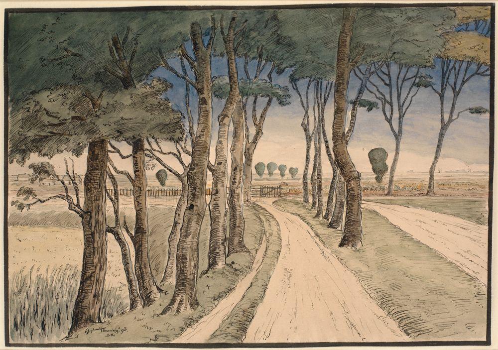 Johan Rohde 1856 1935 Marklandskab I Forgrunden En Vej Med Traeer 1893 Paysage Arbre National Gallery