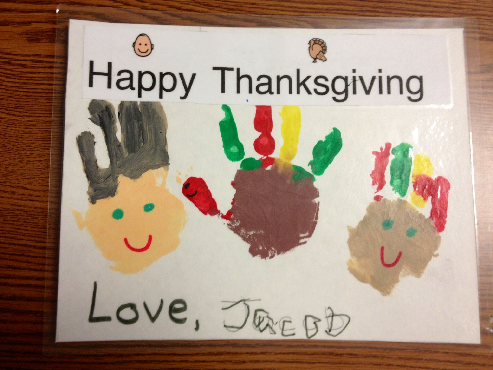 Thanksgiving Placemat Craft Pilgrim Turkey Native American Indian Handprint