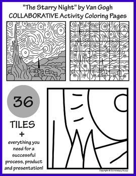 "Photo of ""The Starry Night"" by Van Gogh COLLABORATIVE Activity Coloring Pages"