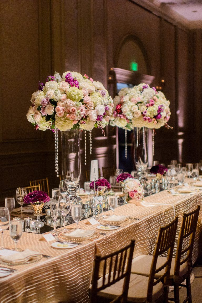 tall wedding centerpiece, crystal flower arrangements, kings table  reception, wedding head table,