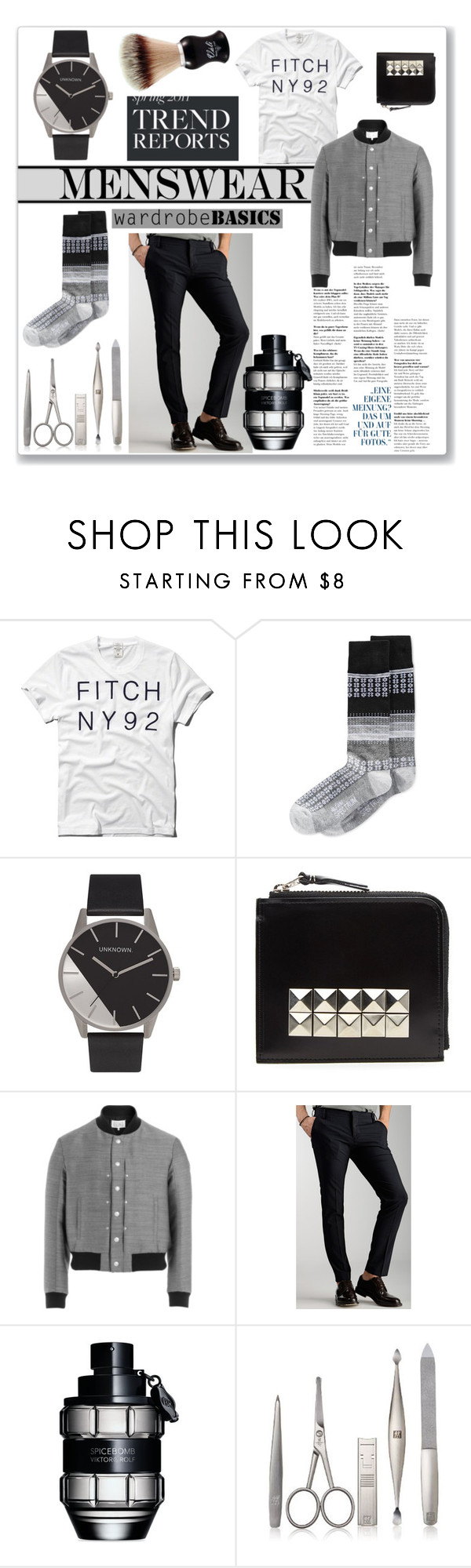 """Wardrobe Basics: Menswear"" by invisable-dreamer ❤ liked on Polyvore featuring Abercrombie & Fitch, Alfani, Comme des Garçons, Maison Margiela, Entre Amis, Viktor & Rolf, Zwilling Pour Homme, Váli, mens and men"