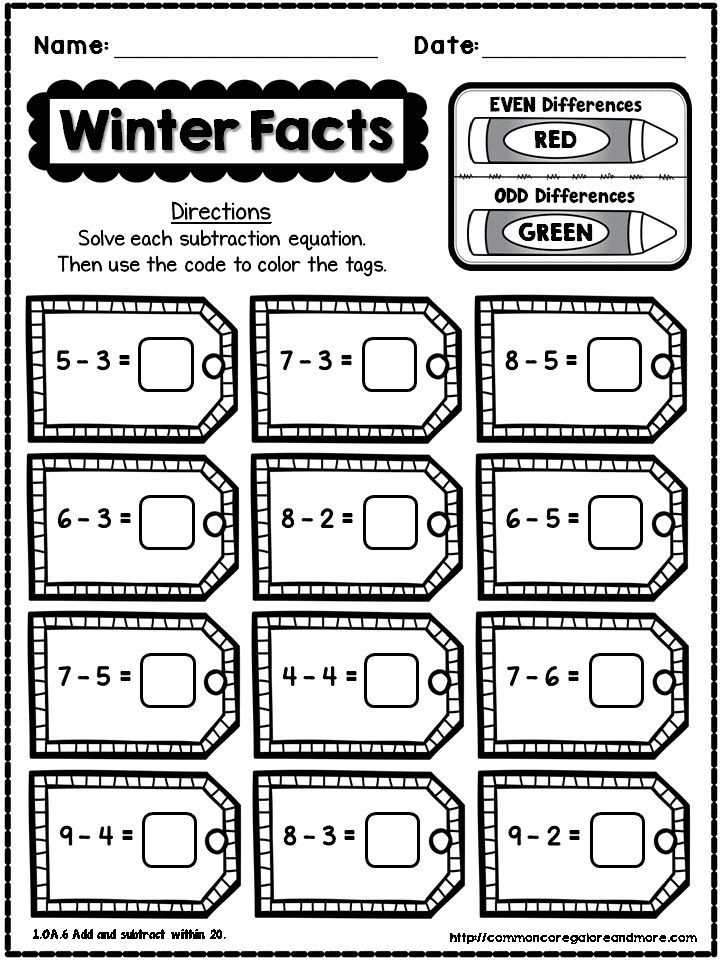 FREEBIE** Sample page from my 1st Grade Winter NO PREP Math Pack ...