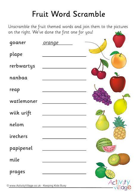 Fruit Word Scramble Words