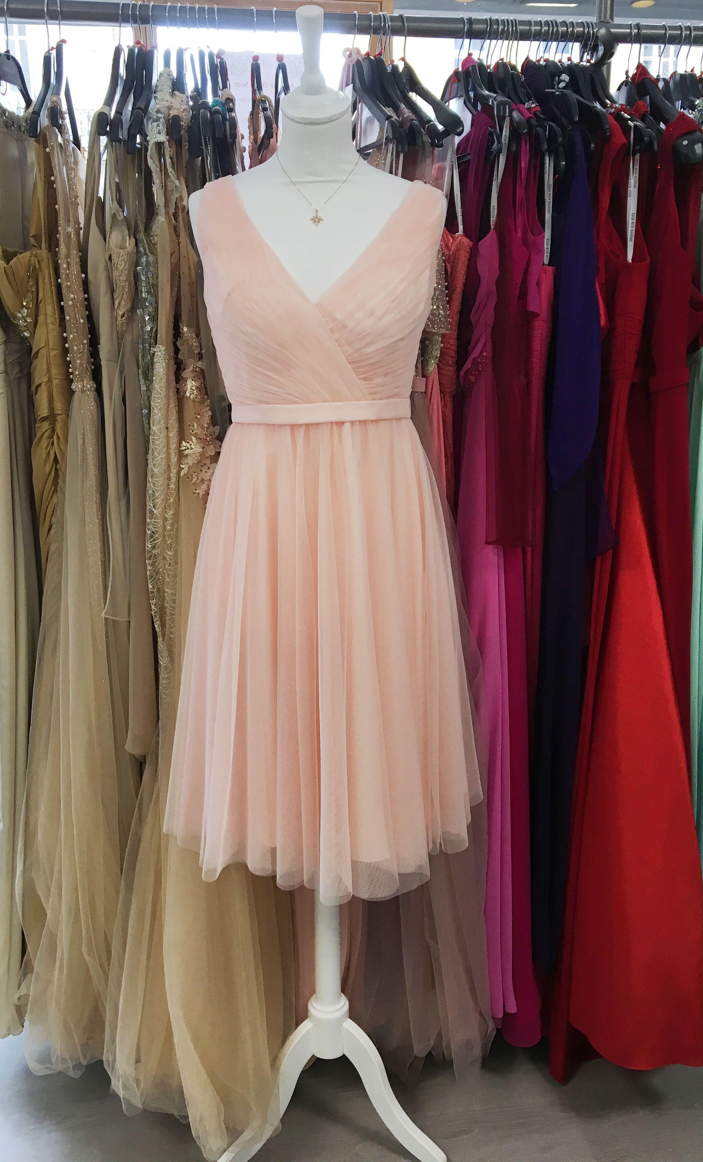 Robe Courte Rose Poudree Tulle Et Decollete V Style Danseuse Mi