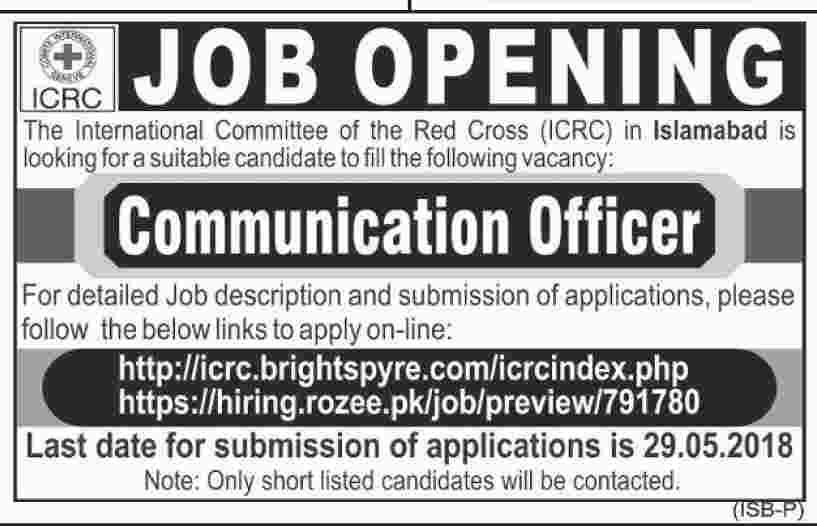 Red Cross Pakistan Icrc Jobs May 2018 For Communication Officer