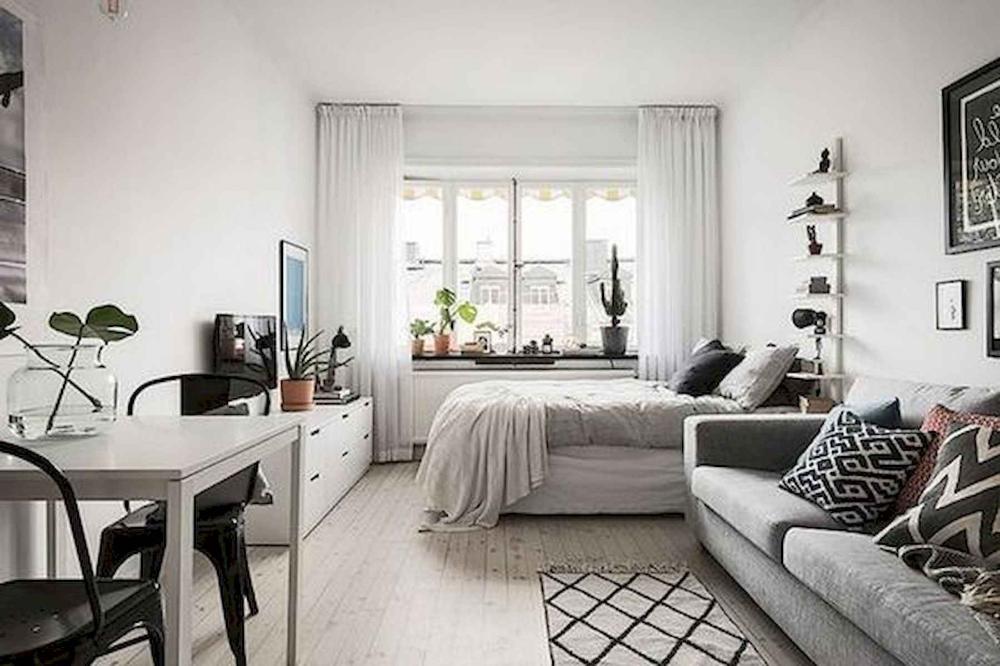 Rectangular Living Room Bedroom Combo Google Search Rectangularbedroomdesign First Apartment Decorating Small Apartment Design Apartment Interior Design