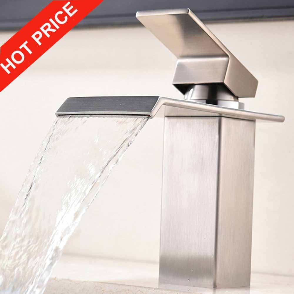 Waterfall bathroom vanity - Modern Commercial Single Hole Waterfall Bathroom Vanity Sink Faucet Brushed Nickel With Large Rectangular Spout