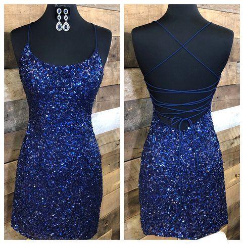 Sparkle Navy Blue Tight Party Dress from modsele #navyblueshortdress
