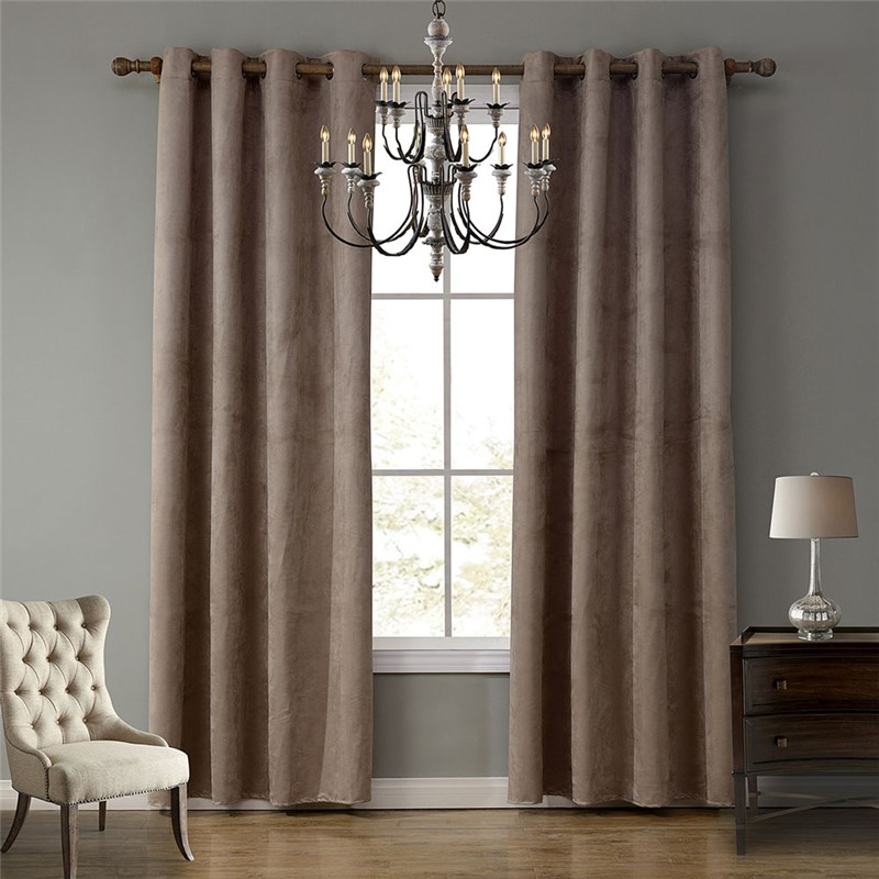 Modern Ready Made Curtain Suede Solid Color Finished Curtain