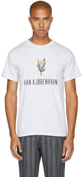 Han Kjobenhavn Grey Flower Logo Casual T-Shirt
