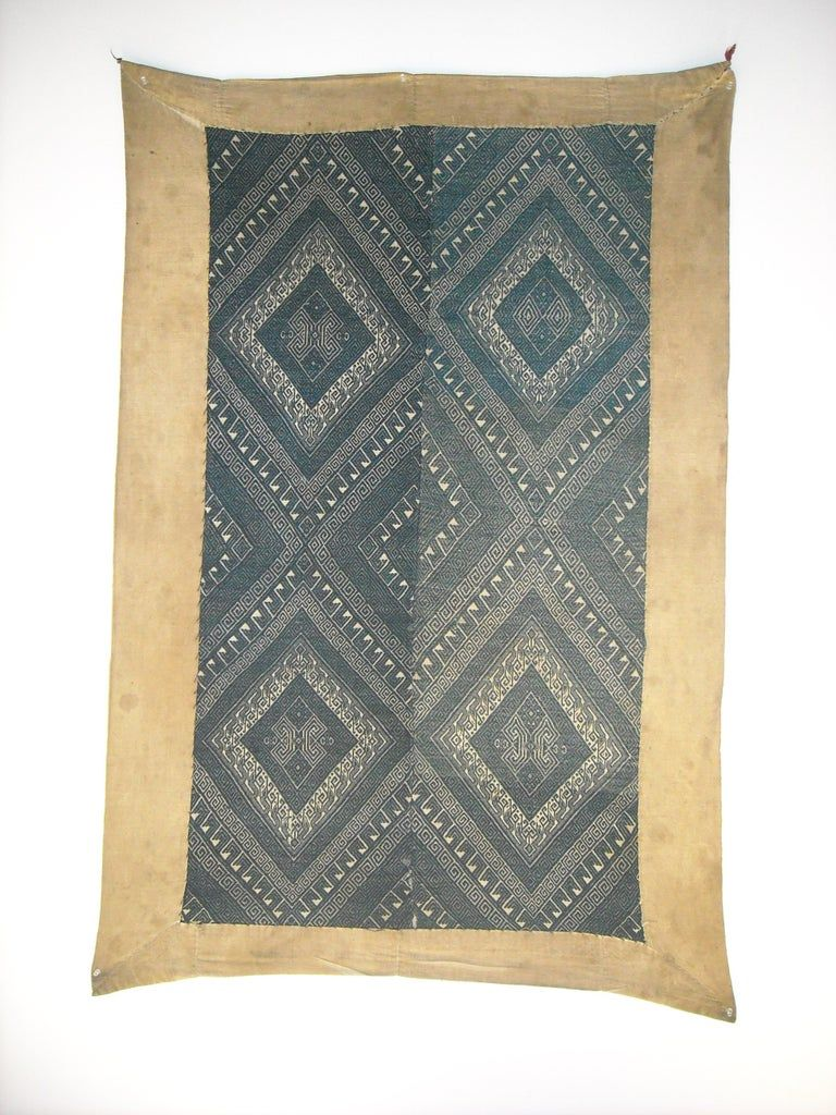 An exquisite Antique Laos Tribal Pha Hom Blanket. Very Specific and with this age quite rare. Pha Hom blanket used for healing and comforting. This Pha Hom Blanket is true to its origins beging natural cotton with indigo color. The weave design is very full, and strong, sugesting a master weaver and a very powerful healing tool.