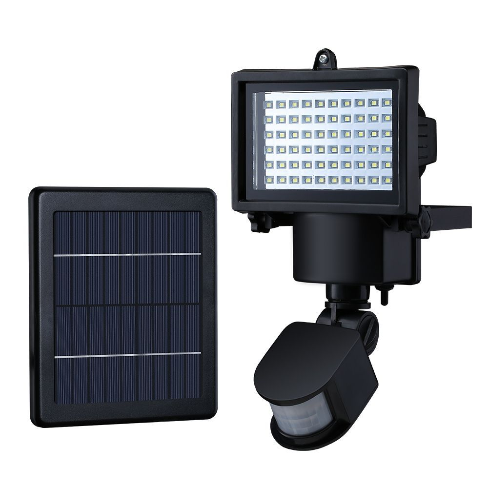 Place this led solar powered security light at your doors carport litom super bright 60 led waterproof solar powered security lights with motion sensor for outdoor mozeypictures Choice Image