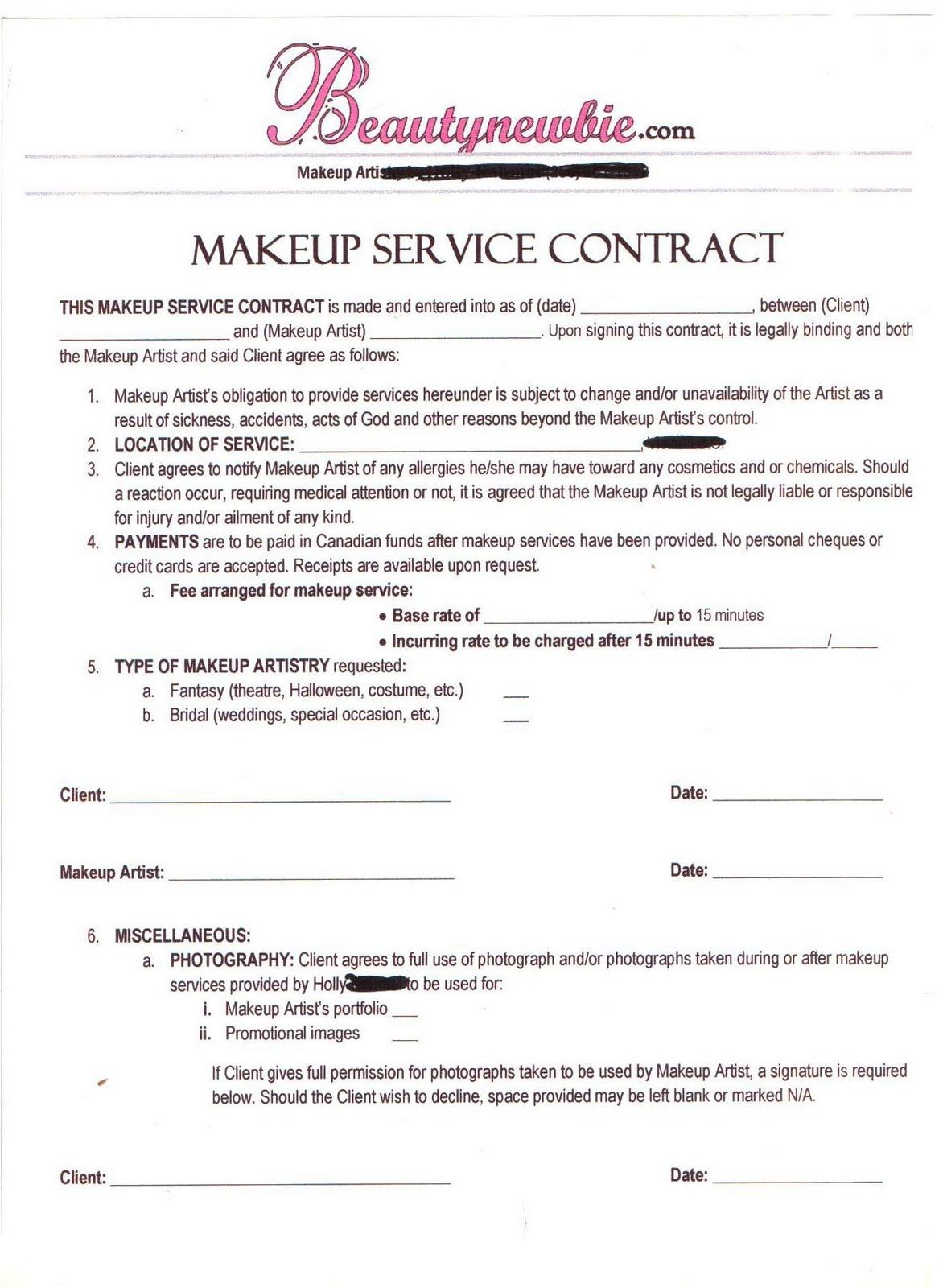 Freelance Makeup Artist Contracts Value By Freelancetemplates