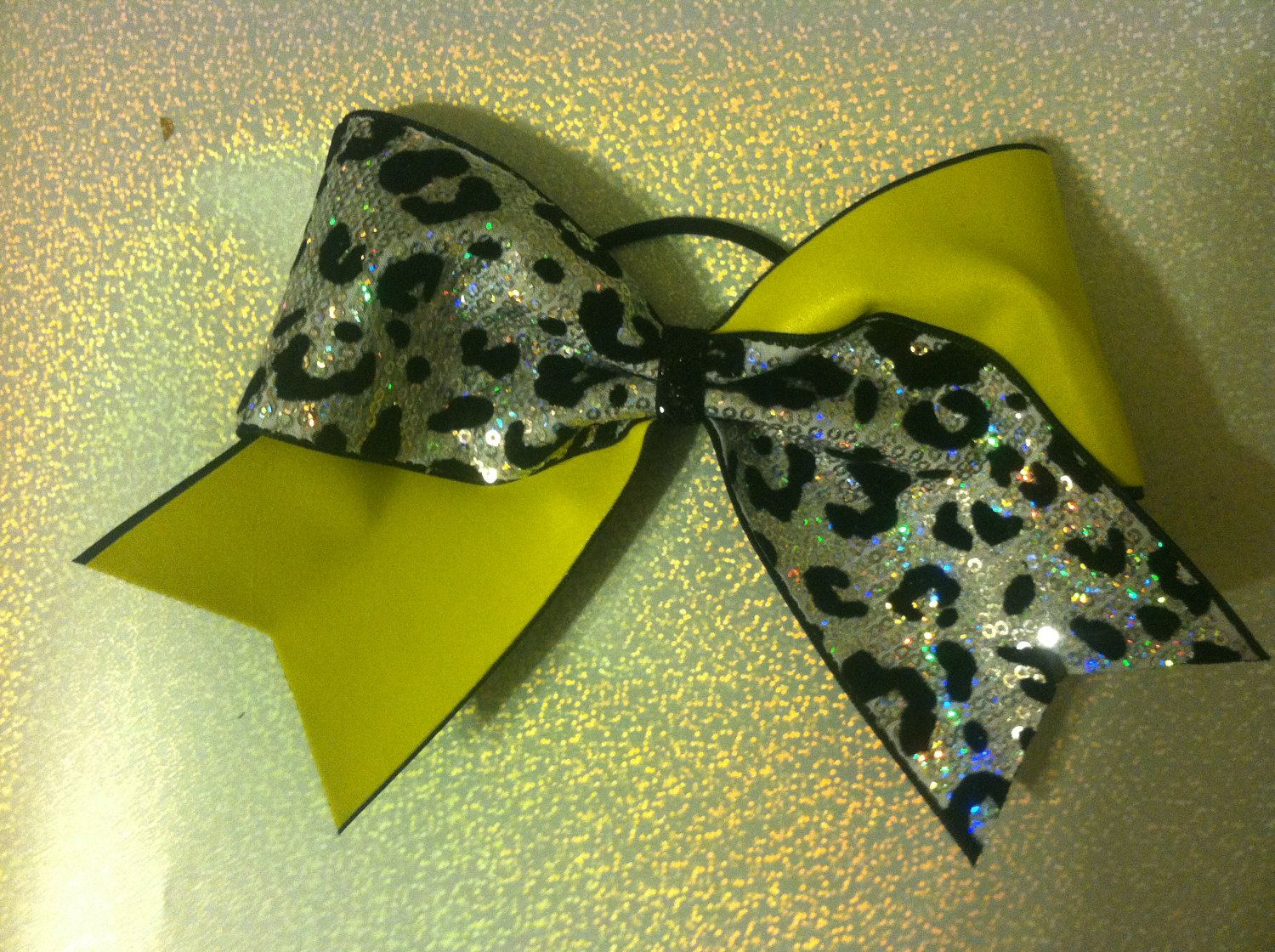 Green Sparkly Lepord Cheer Bow