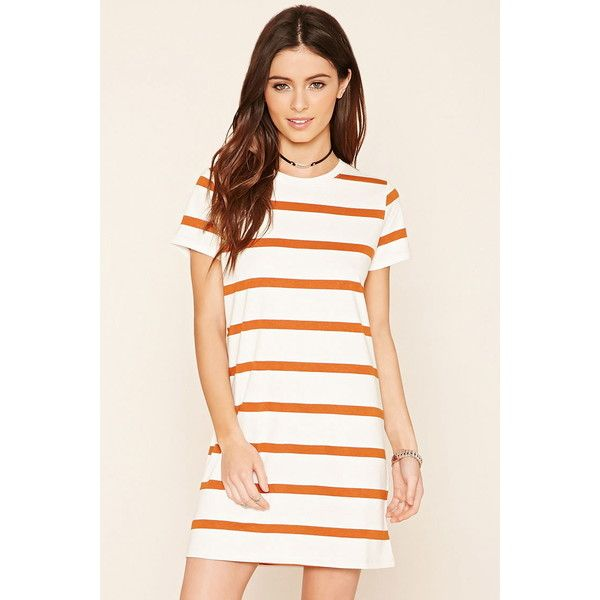 d9d8735c4006 Forever 21 Women's Striped T-Shirt Dress ($11) ❤ liked on Polyvore  featuring dresses, short sleeve t shirt dress, stripe dress, forever 21,  cotton tee ...