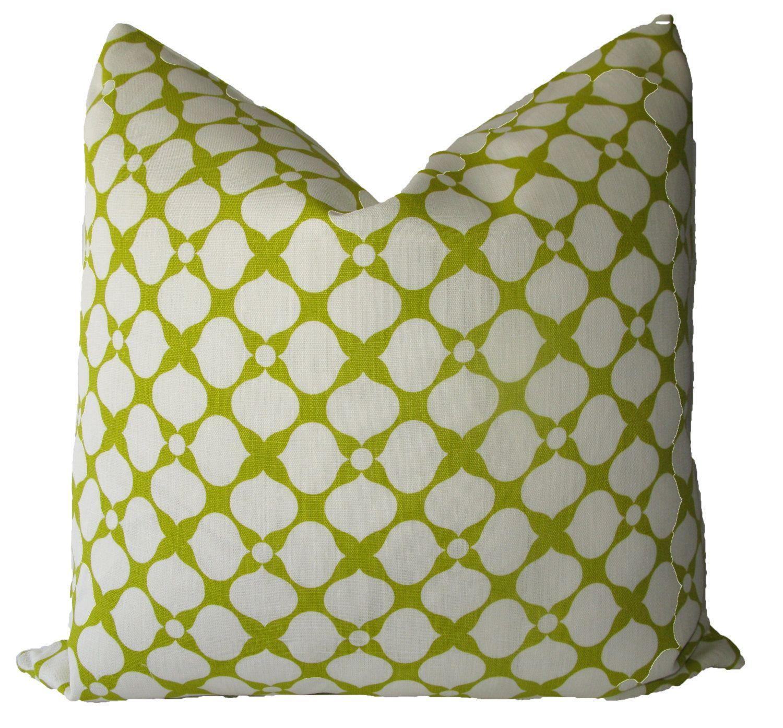 Decorative designer jonathan adler lime green geometric pillow cover