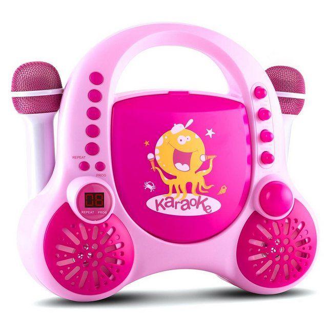 Kinder CD Player Karaoke System AUX 2x Mikrofon Sticker »Rockpocket« #bestkaraokemachine