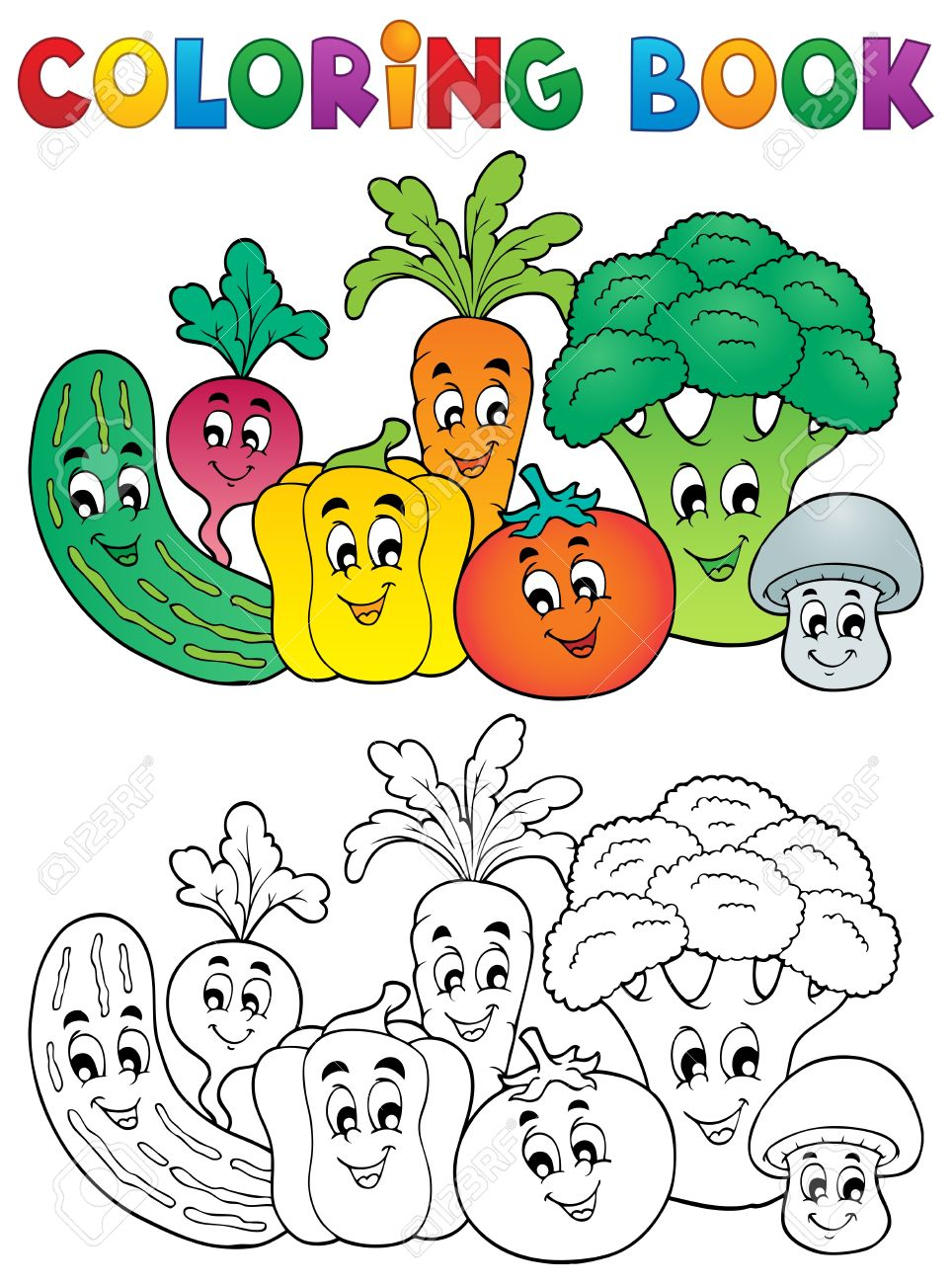 Coloring Book Vegetables Theme Coloring Books Coloring Book Download Coloring Pages