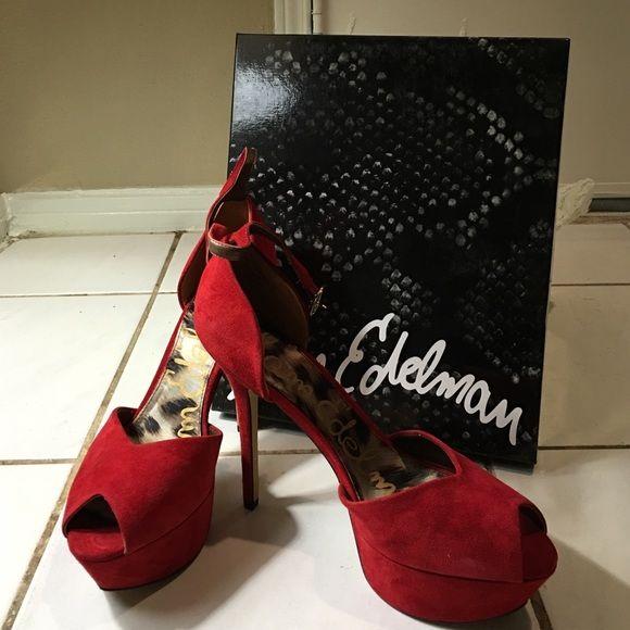 864ee74f943ae6 Sam Edelman red suede peep toe pumps Originally  70