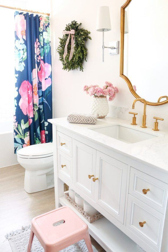 Pink Peonies On Navy Shower Curtain Designbathroomsshower Kid Bathroom Decor Girl Bathrooms Bathroom Renovation Diy