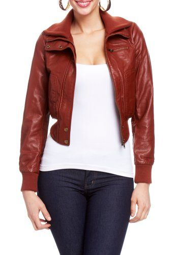 2B Stacey Knit Collar Leatherette Bomber Jacket - Listing price ...