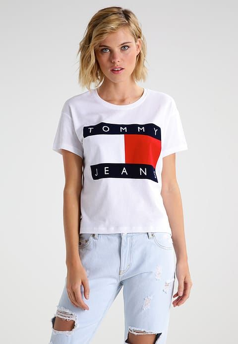 hilfiger denim tommy jeans 90s t shirt print white. Black Bedroom Furniture Sets. Home Design Ideas