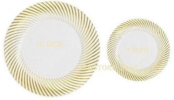 BulkDinner/Wedding Disposable Plastic Plates Withwhite/swirl gold rim #Unbranded  sc 1 st  Pinterest & BulkDinner/Wedding Disposable Plastic Plates Withwhite/swirl gold ...