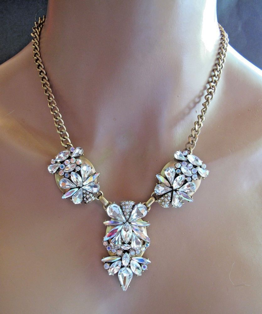 Jcrew j crew modernist ab crystal rhinestone statement necklace