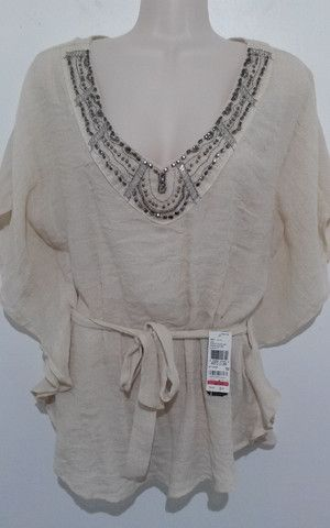Beige Sexy Traditional Blouse, Size: Medium