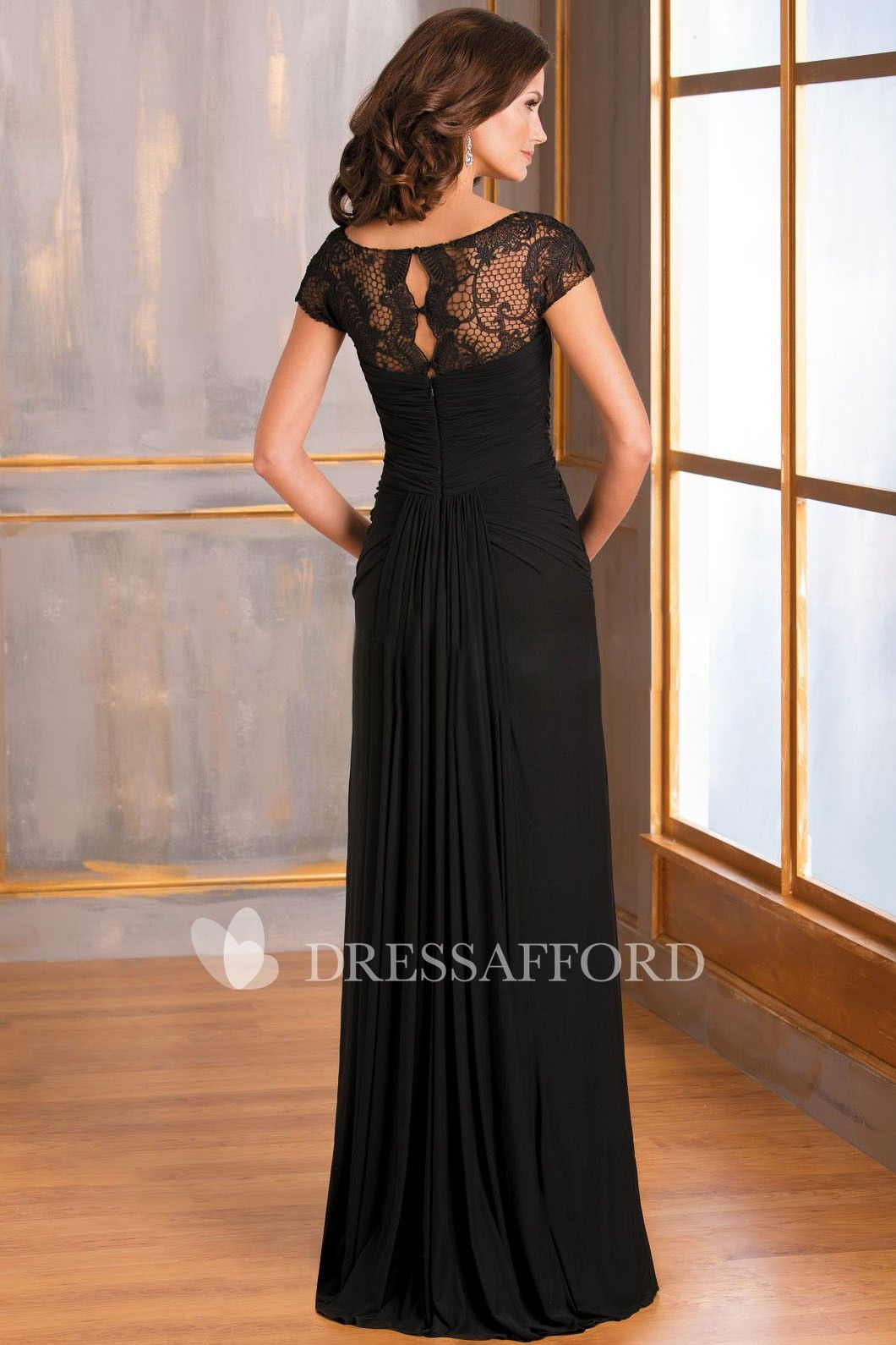 2539d3c6d1 Scoop-neck Chiffon Lace Dress With central draping