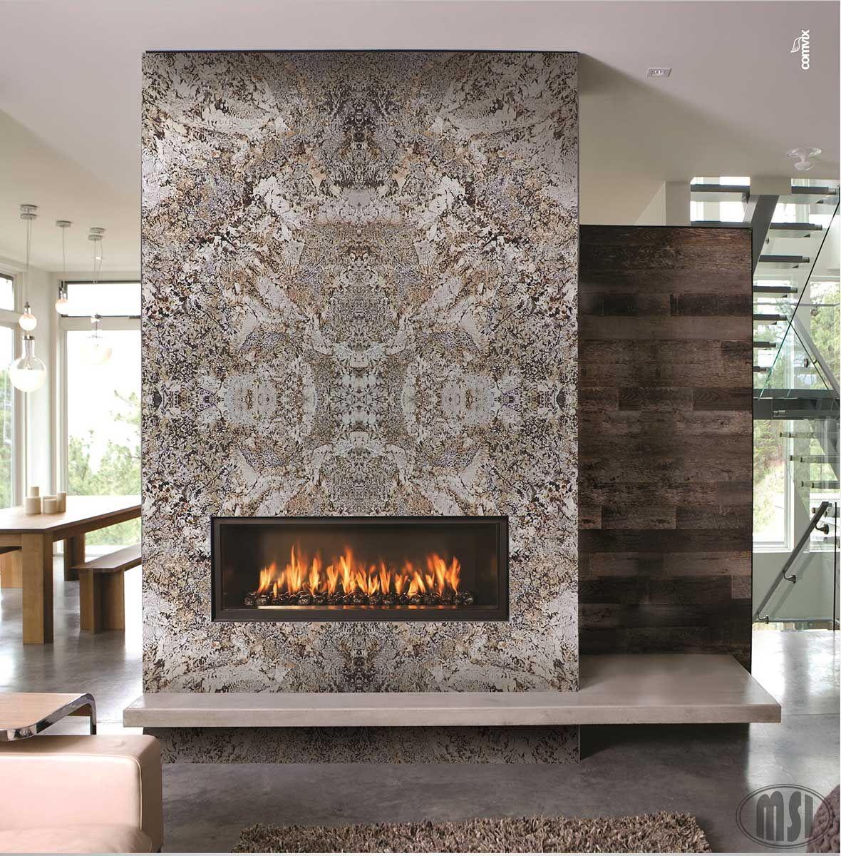this fireplace design with bookmatch slabs simply amazing